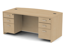 Belair Lite Executive Bowfront Double Pedestal Desk (All Finishes)