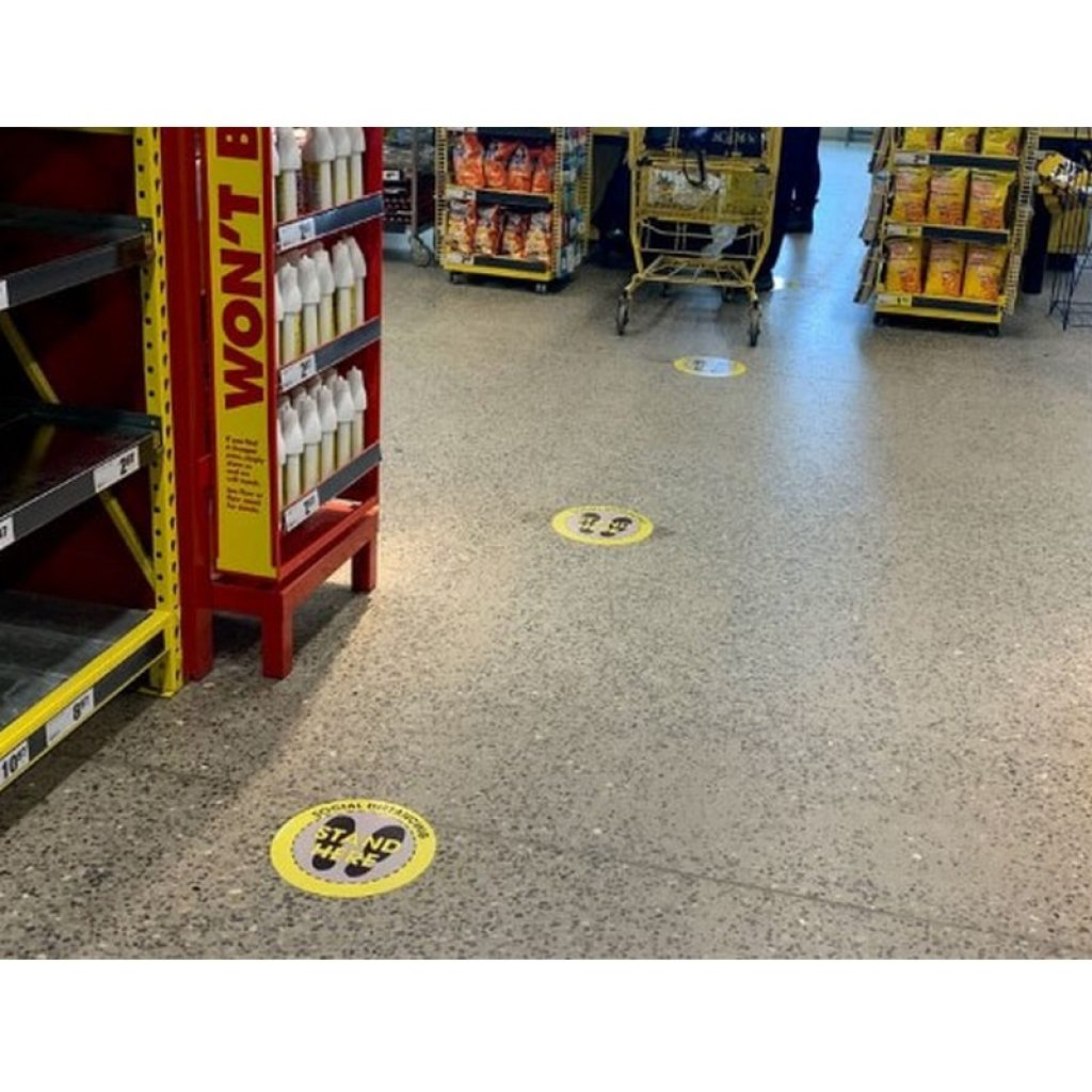 "Social Distancing 12"" Circle Floor Stickers - 3 Colours (4 Pack)"