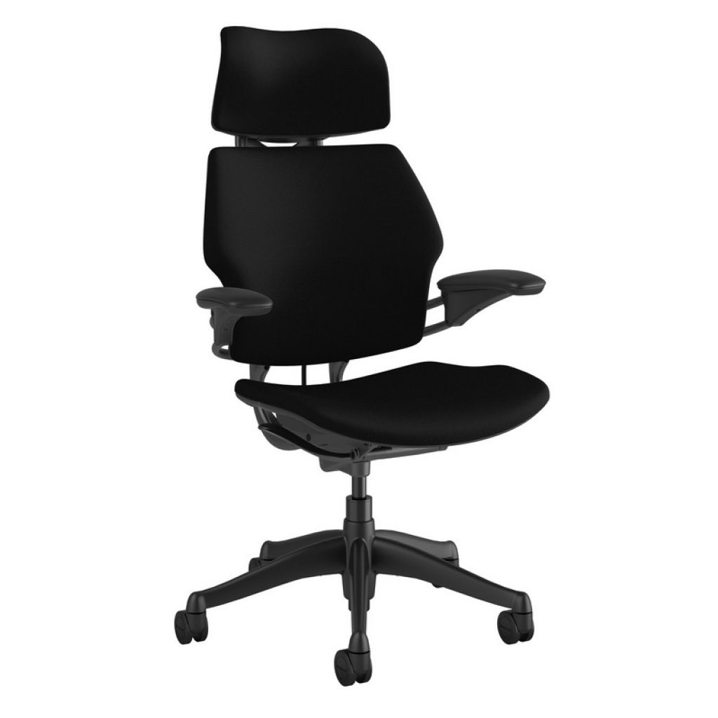 Our Best Ergonomic Chair - Humanscale Freedom Chair with Headrest - Simply Black