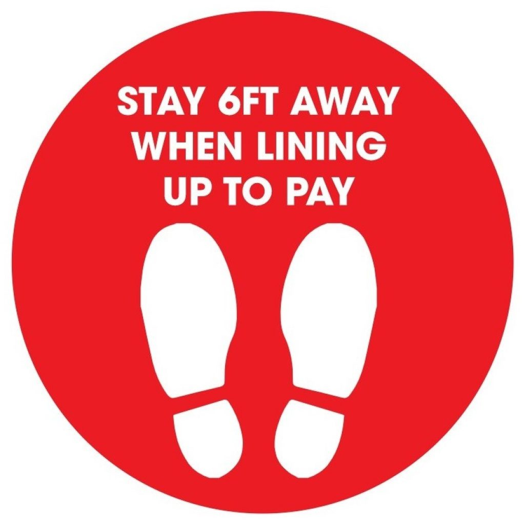 "Stay 6ft Away When Lining up to Pay 12"" Circle Floor Stickers - 12 colours  (4 Pack)"