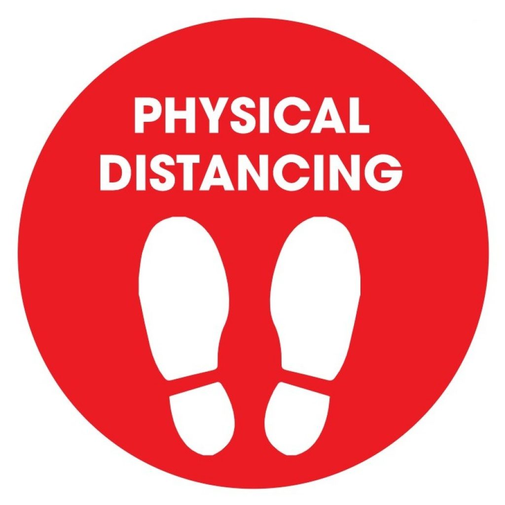 """Physical Distancing 12"""" Circle Floor Stickers - 12 colours (4 Pack)"""