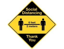 "Social Distancing 12"" Diamond Sign (4 pack)"