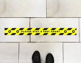 Physical Distancing Space Bar Floor Stickers (6 Pack)