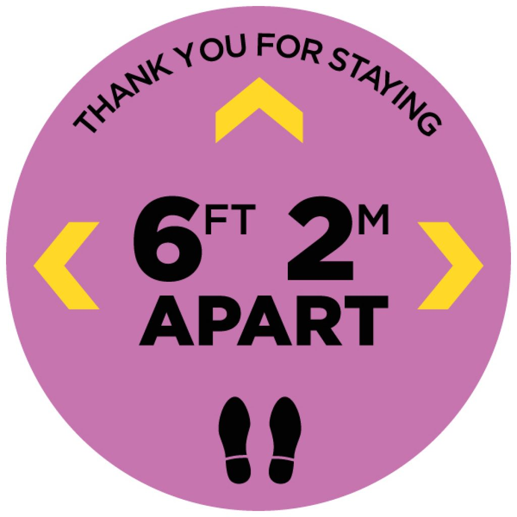 """Thank You Physical Distancing 12"""" Circle Floor Stickers - 12 Colours (4 Pack)"""