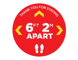 "Thank You Physical Distancing 12"" Circle Floor Stickers - 12 Colours (4 Pack)"