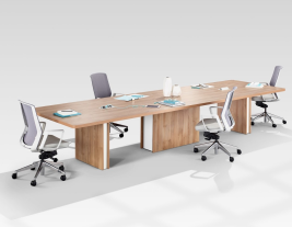 Extra Long Conference Tables - Norris Boat-Shaped with Power Data Ports